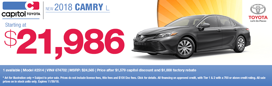 2018 Camry L Sales Special at Capitol Toyota in Salem, OR