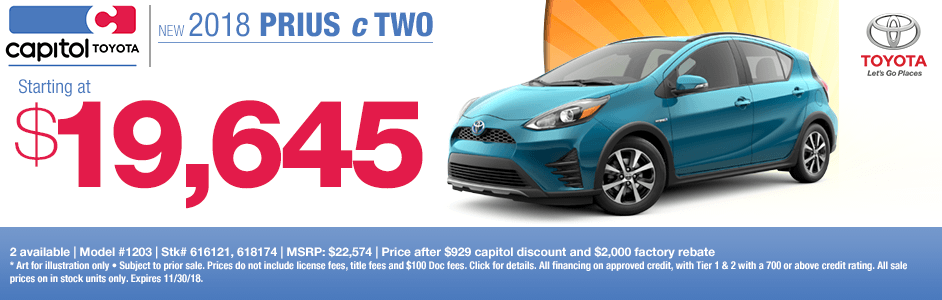 2018 Prius c Two Purchase Special at Capitol Toyota in Salem, OR