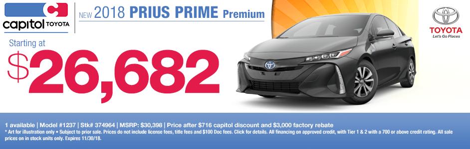 2018 Prius Prime Premium Sales Special at Capitol Toyota in Salem, OR