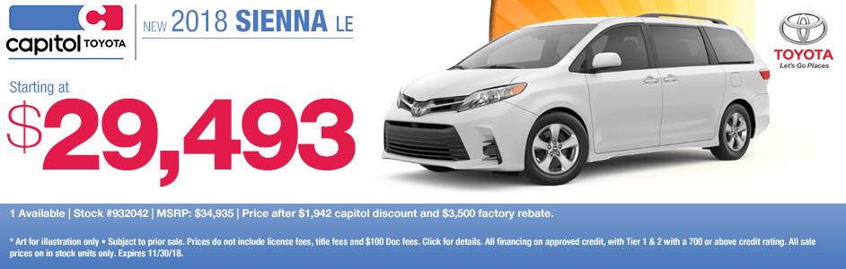 2018 Sienna LE Purchase Special at Capitol Toyota in Salem, OR
