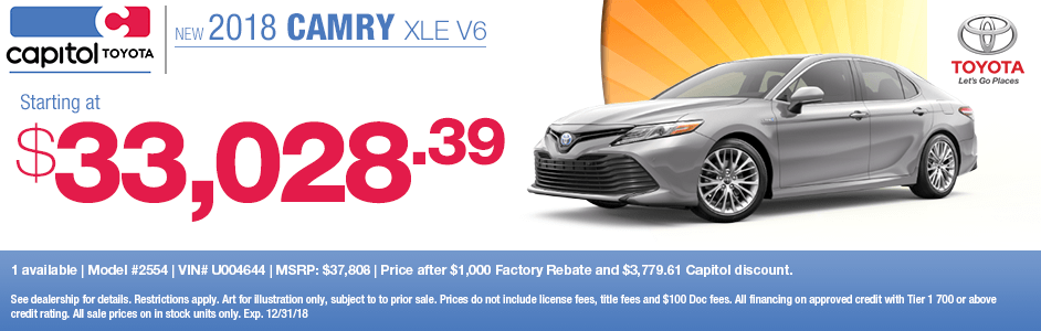 Save on a new 2018 Toyota Camry XLE V6 with this special lease discount savings offer at Capitol Toyota in Salem, OR