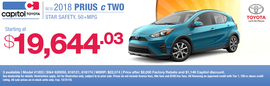 Save on a new 2018 Toyota Prius c Two with this special lease discount savings offer at Capitol Toyota in Salem, OR