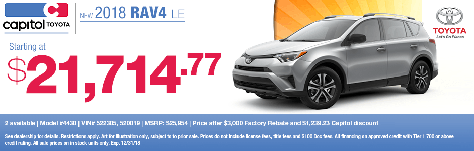 Save on a new 2018 Toyota RAV4 LE with this special lease discount savings offer at Capitol Toyota in Salem, OR