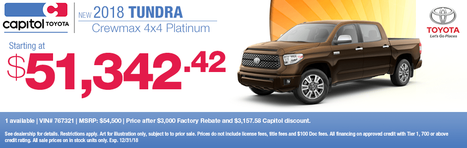 Save on a new 2018 Toyota Tundra Crewmax 4x4 Platinum with this special lease discount savings offer at Capitol Toyota in Salem, OR