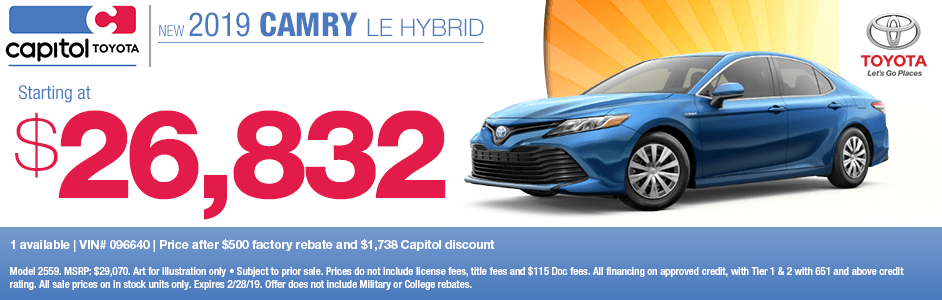 2019 Camry LE Hybrid Sales Special at Capitol Toyota in Salem, OR