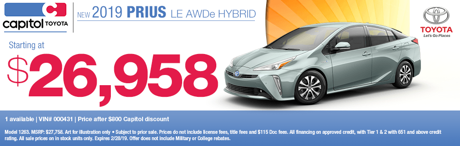 2019 Prius LE AWDe Hybrid Purchase Special at Capitol Toyota in Salem, OR