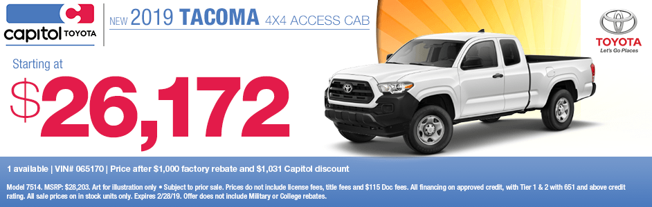 2019 Tacoma Access Cab 4x4 Purchase Special at Capitol Toyota in Salem, OR