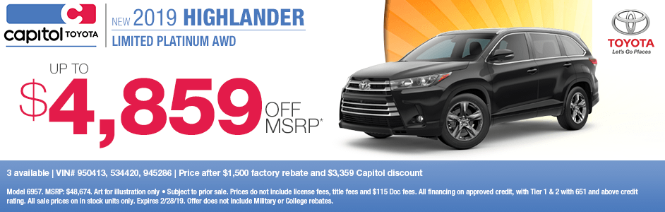 2019 Highlander Limited Platinum AWD Sales Special at Capitol Toyota in Salem, OR