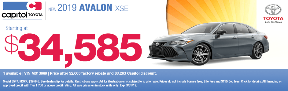 2019 Avalon XSE Sales Special at Capitol Toyota in Salem, OR