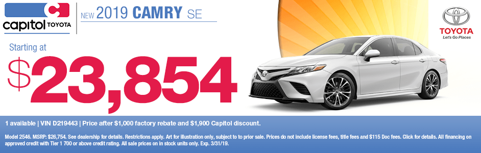 2019 Camry SE Purchase Special at Capitol Toyota in Salem, OR