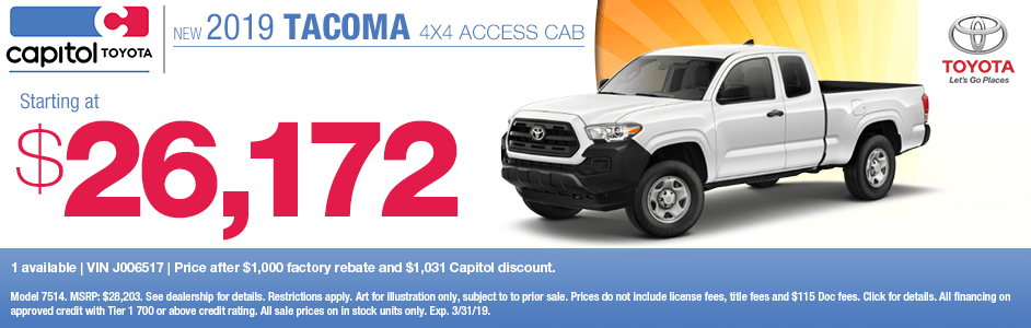 2019 Tacoma 4x4 Access Cab Sales Special at Capitol Toyota in Salem, OR