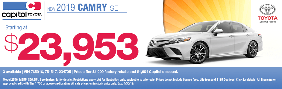Save on a new 2019 Toyota Camry SE with this special discount savings offer at Capitol Toyota in Salem, OR