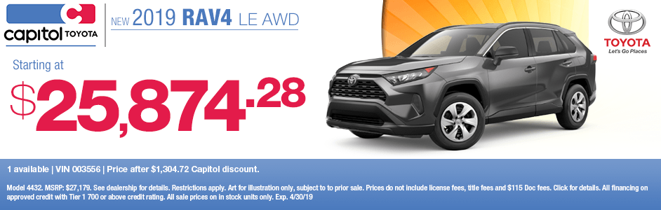 Save on a new 2019 Toyota RAV4 LE AWD with this special discount savings offer at Capitol Toyota in Salem, OR
