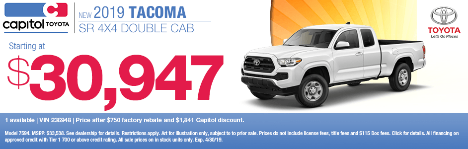 Save with special discount savings on a new 2019 Toyota Tacoma SR 4x4 Double Cab at Capitol Toyota in Salem, OR