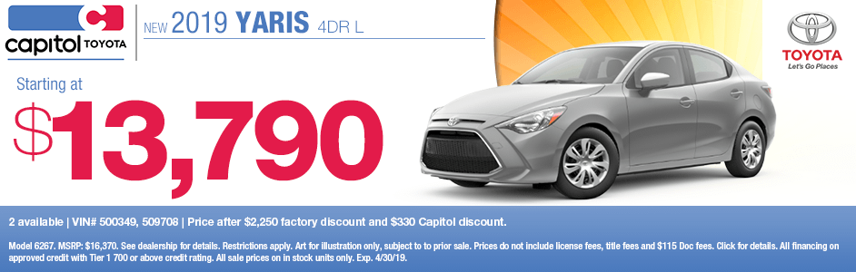 Save on a new 2019 Toyota Yaris 4dr L with this special discount savings offer at Capitol Toyota in Salem, OR