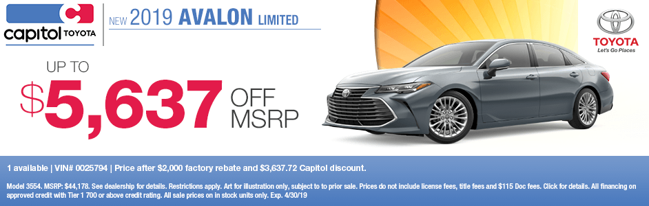 Save this month on a new 2019 Toyota Avalon Limited with this special discount savings offer at Capitol Toyota in Salem, OR