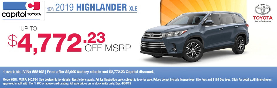 Save on a new 2019 Toyota Highlander XLE with this special discount savings offer at Capitol Toyota in Salem, OR