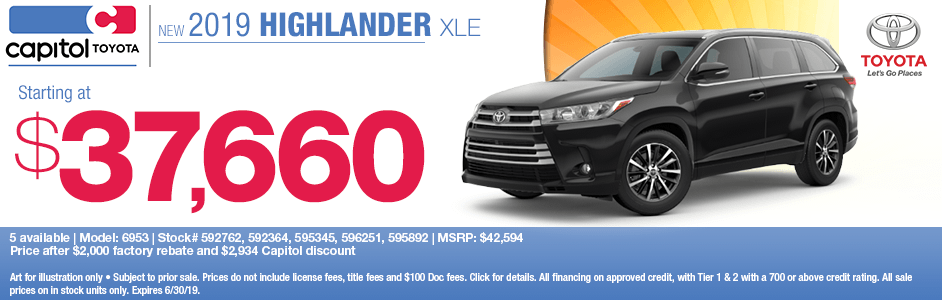 2019 Highlander XLE Purchase Special at Capitol Toyota in Salem, OR