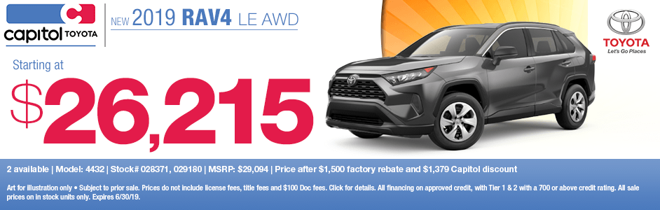 2019 Rav4 LE AWD Sales Special at Capitol Toyota in Salem, OR