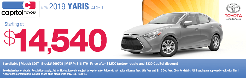 2019 Yaris 4-Door L Purchase Special at Capitol Toyota in Salem, OR