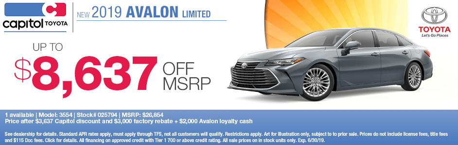 2019 Avalon Limited Sales Special at Capitol Toyota in Salem, OR