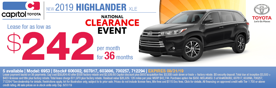 2019 Toyota Highlander XLE Lease Special in Salem, OR