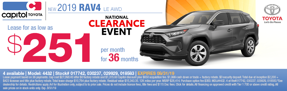 2019 Toyota RAV4 LE AWD Lease Special in Salem, OR