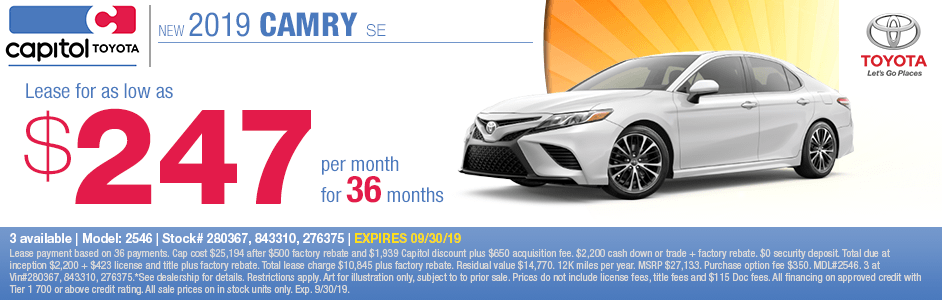 2019 Camry SE Lease Special at Capitol Toyota in Salem, OR