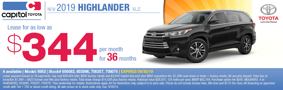 2019 Highlander XLE Lease Special at Capitol Toyota in Salem, OR