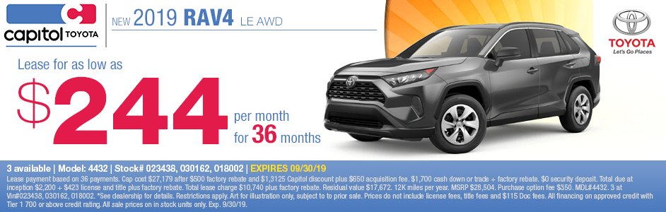 2019 RAV4 LE AWD Low Payment Lease Special at Capitol Toyota in Salem, OR