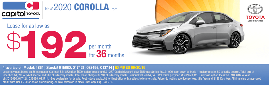2020 Corolla SE Low Payment Lease Special at Capitol Toyota in Salem, OR