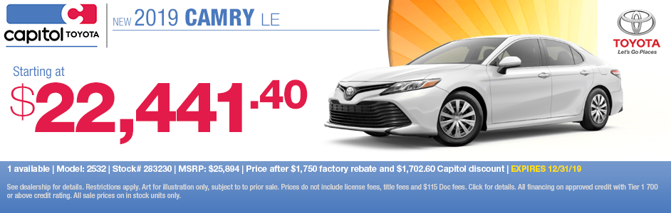 2019 Toyota Camry LE Sales Special in Salem, OR