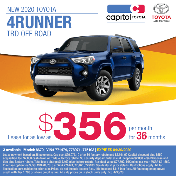 2020 Toyota 4Runner TRD Off Road Lease Special at Capitol Toyota in Salem, OR