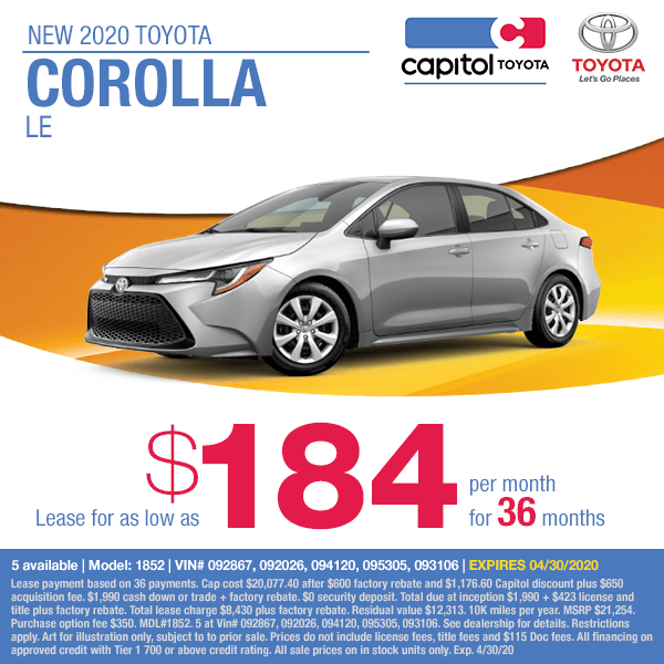 2020 Toyota Corolla LE Lease Special at Capitol Toyota in Salem, OR