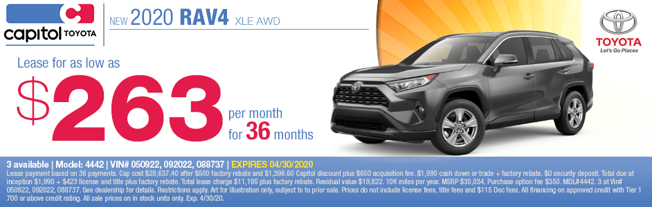2020 Toyota RAV4 XLE AWD Lease Special at Capitol Toyota in Salem, OR