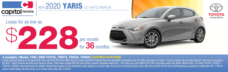 2020 Toyota Yaris Sales Special at Capitol Toyota in Salem, OR