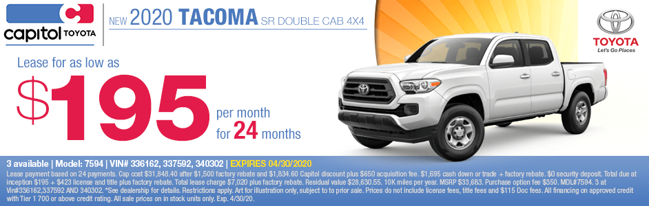 2020 Toyota Tacoma SR5 Double Cab 4x4 Lease Special at Capitol Toyota in Salem, OR