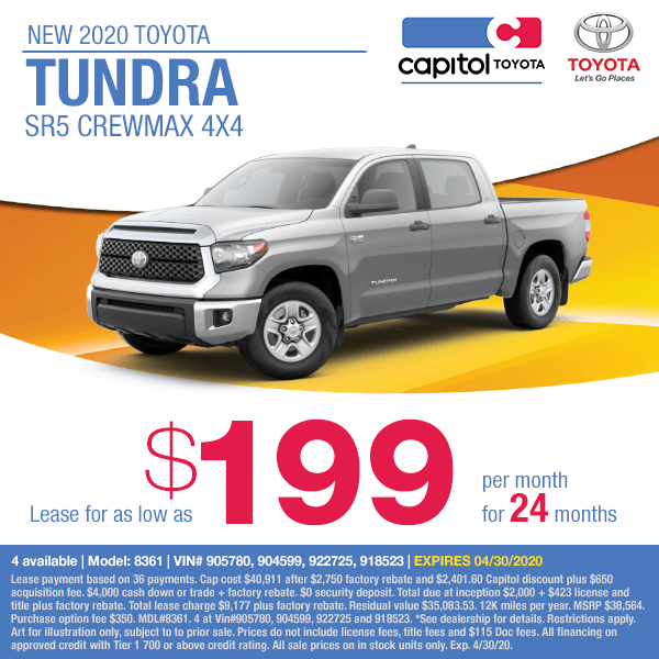 2020 Toyota Tundra SR5 Crewmax 4x4 Lease Special at Capitol Toyota in Salem, OR