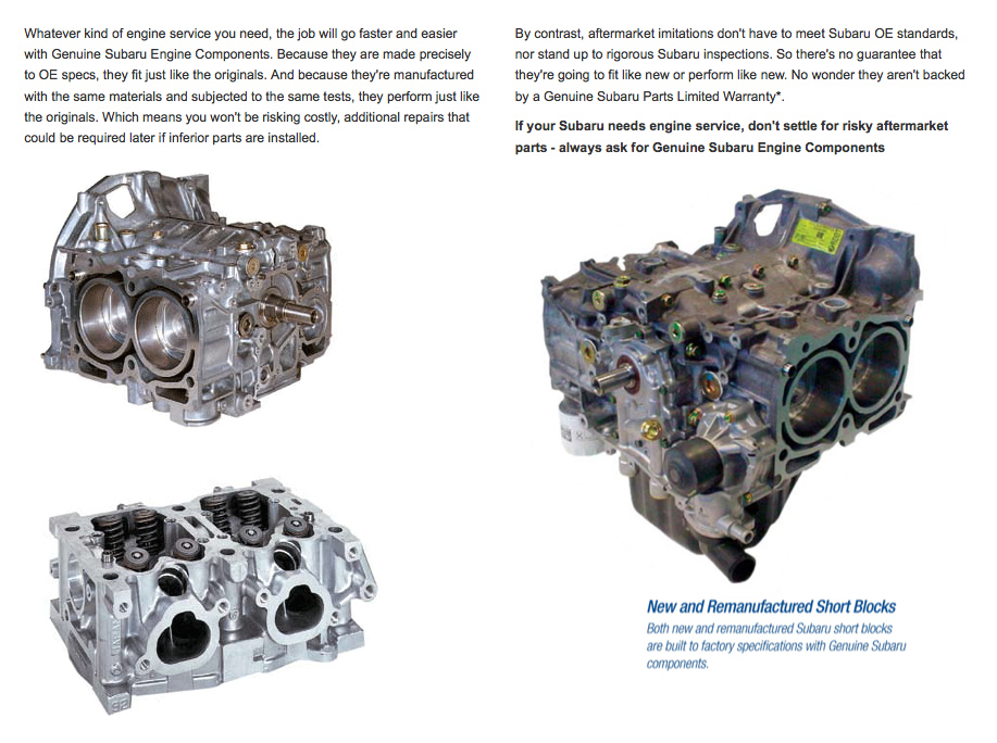 Genuine Subaru Engine Components serving San Jose & San Francisco, CA
