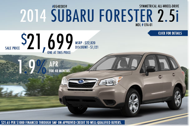 Redwood City Subaru New 2014 Forester 2.5i Sale Special serving San Francisco, California