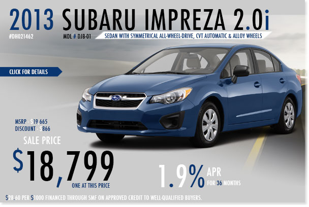 San Francisco New 2013 Subaru Impreza Sedan CVT Sales Special Offer serving Redwood City, California
