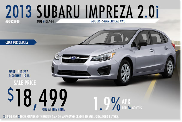 New 2013 Subaru Impreza 5-Door Sales Discount Special serving San Francisco