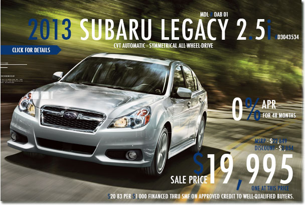 New 2013 Subaru Legacy 2.5i CVT San Francisco, California
