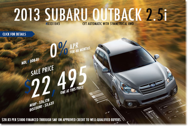 Redwood City Subaru New 2013 Outback 2.5i CVT Sales Special Discount Offer serving San Francisco, California
