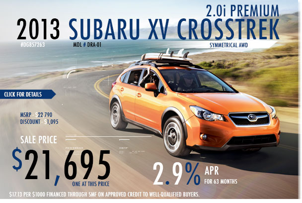 Redwood City Subaru New 2013 XV Crosstrek 2.0i Premium Sales Special Offer serving San Francisco, California