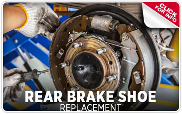 Click to view our rear brake shoe replacement service information serving San Francisco, CA