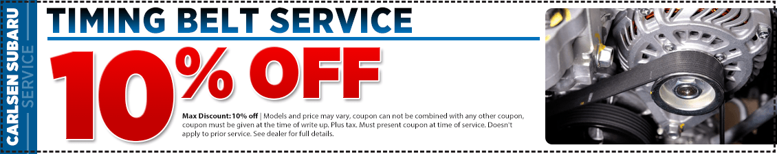 Get special savings on our Timing Belt Replacement service at Carlsen Subaru serving San Francisco, CA