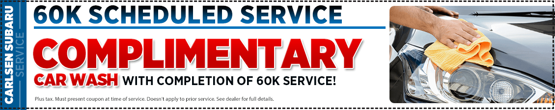 Get special savings on our 60K Scheduled service with a complimentary car wash at Carlsen Subaru serving Redwood City, CA