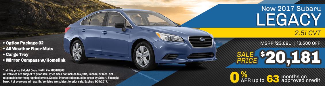 2017 Subaru Legacy 2.5i CVT Sales Special serving San Francisco, CA