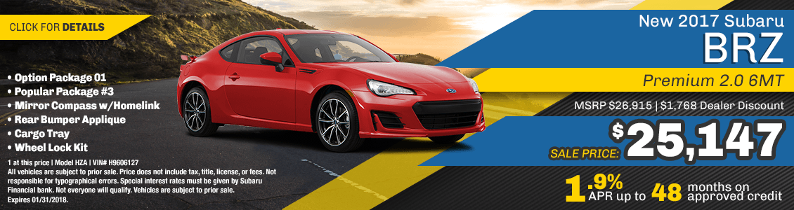 2017 BRZ 2.0 Premium 6MT Sales & Finance Special at Carlsen Subaru serving San Francisco, CA